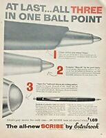 Lot 3 Vintage 1956 Esterbrook Pen Print Ads Scribe Ball Point Three in One