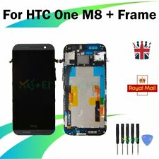 For HTC One M8 LCD Display Frame Touch Screen Full Assembly Replacement Grey UK