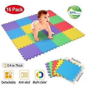Kids Foam Play Mat Baby Crawling Activity Gym Crawl Infant Floor Carpet 16 Tiles