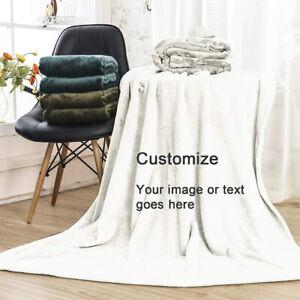 Large Warm Sofa Fleece Personalized Photo Blanket Customized Throw Single Double