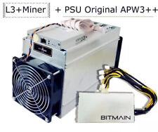 Bitmain Antminer L3+ ASIC Scrypt Miner w/ APW3++ Power Supply PSU Litecoin Doge