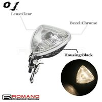 Retro Triangle Headlight Lamp Spotlight Clear Lens For Harley Old School Chopper