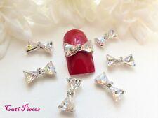 3D Nail Art Silver Sparkly *Crystal Rhinestone Style Bows* Gem Alloy Metal Craft