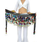 Chiffon Belly Dance Costume 2 Rows Colorful Coin Sequins Hip Scarf Skirt Wrap