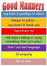 Buone maniere-A4 laminato visualizzazione Poster-VIGILATRICE d'infanzia/Classe/Home/luogo di lavoro