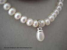 Vario-Anhänger Echte Perle Tropfen Weiß, 925er Silber mit Zirkonia, TOP Geschenk