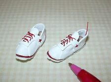 Miniature Leather Tennis Shoes White/Red: DOLLHOUSE Miniatures 1/12 Scale