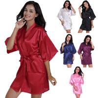 Womens Short Silk Lace Satin Robes Bridal Wedding Bridesmaid Sleepwear Nightgown