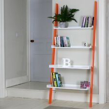 White Leaning Ladder Shelf With Four Tiers and Orange Legs