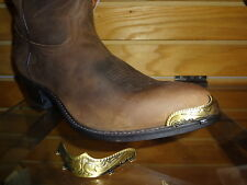 New Antique Gold colored Cowboy Boot Tips/Toe Plates for Round Toed Boots