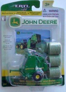 JOHN DEERE 568 ROUND BALER AND BALES SCALE 1/64 DIECAST NEW ERTL/BRITAINS
