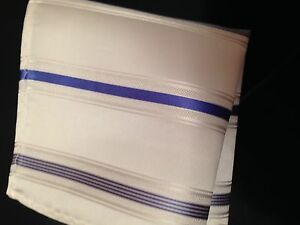 "New 10"" 100% Silk Pocket Square White w Blue Stripes-20"
