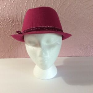 Children's Place Girls Fedora Hat Size M 7/8 Pink Lined Sparkle Ribbon Bow