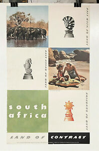 Original 1950s Union of South Africa Travel Poster Land of Contrast