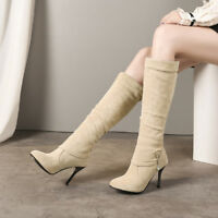 Women Fashion Faux Suede High Heels Pointed Toe Knee High Boots Shoes Size 33-43