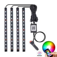 4pcs Multi-function RGB LED Strips Light 5050 Bluetooth Interior Dimmable Flash
