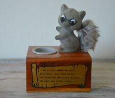 Vintage Unique Wood Piggy Bank Coin Collection Box, Raccoon Figure, Funny Quote