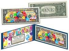 HAPPY BIRTHDAY Keepsake Gift Colorized $1 Bill U.S. Genuine Legal Tender w/Folio