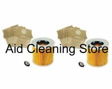 2 FILTER & 10 DUST BAGS for KARCHER  WD2.200 WD3.500  Wet & Dry Vacuum Cleaner
