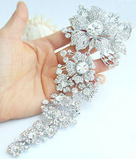 "7.3"" Gorgeous Wedding Flower Brooch Pin Clear Austrian Crystal Pendant 04704C1"