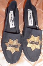 SONIA RYKIEL FAB CLOTH FLATS SLIP ON DECONSTRUCTED SHOES WITH GOLDEN EMBLEM