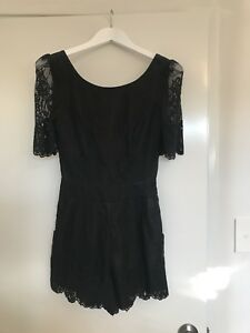 Forever New Black Lace Sleeved Playsuit AU 6