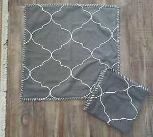 """Pottery Barn Dark Gray Pillow Covers Pair (2) Embroidered 22x22"""" 100% Cotton"""