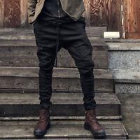 Men Jogger Pants Twill Biker Casual Slim Fit Sports Hip Hop Harem Trousers D