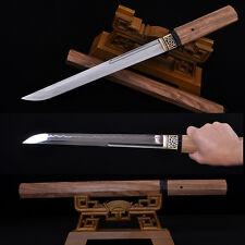 HANDMADE JAPANESE SAMURAI SWORD TANTO CLAY TEMPERED FULL TANG BLADE HUALEE WOOD