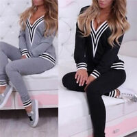 Felpa casual da donna Tops + Pantaloni Fad Tuta Set 2 pezzi Outfit Sport SuitBHQ