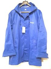 VETEMENTS Unisex Mens Womens Logo Zip Snap Hooded Rain Coat Jacket Blue One Size
