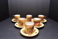 SET of 6 Orchard Gold Fruit SIGNED D Jones Aynsley Demitasse Tea Cup Saucers