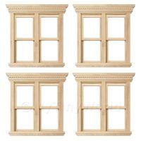 4 X Puppenhaus Miniatur Öffnung Doppelt Schärpe Holz Fenster