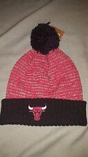 CHICAGO BULLS BASIC POM BEANIE ADULT HAT RED BLACK NEW MENS MITCHELL & NESS