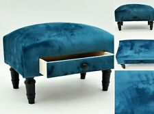 Deluxe Ottoman Footstool With Drawer Hand Made Lounge Padded Foot Stool Velvet