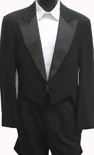 Black Tailcoat Two Button Satin Peak Lapel Vampire Dracula Dickens Costume