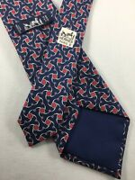 HERMES Silk Tie ~ $180 SHORT Blue Red Silver Equestrian Pattern FRANCE 2215