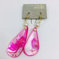 Pink Abalone Shell Earrings Vintage Faux Pearl Pierced French Hook MOP