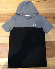 Boys Under Armour Hooded t shirt YXL Age 13-15 Grey Black Heat gear Superb Cond