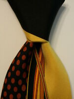 VITALIANO PANCALDI Men's Silk Necktie ITALY Luxury Geometric Black/Yellow GUC