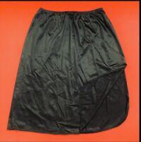"VANITY  FAIR ... Vintage 24"" Nylon Side Slit Half Slip USA ... Black ... Size  M"