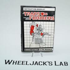 Ultra Magnus Action Figure Instruction Manual Booklet 1986 G1 Transformers