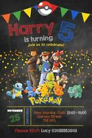 Pokemon Personalised Birthday Party Invitations With Free Envelopes