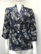 Dress Barn Women's Blue White Palm Leaf Light Weight Jacket/Shirt Size 10
