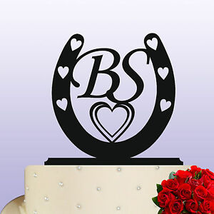 Acrylic Two Monogram Bride & Groom Wedding/Anniversary Horseshoe Cake Topper