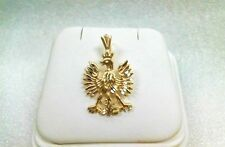 14K Gold Polish Eagle charm Diamond cut 14K solid yellow gold