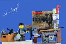 LEGO workbench tools and machine tools drill tool box saw minfigure mechanics