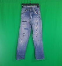 Vtg 1940s 1950s Jeans Indigo Denim Pant Workwear Distressed Repaired Selvedge 24
