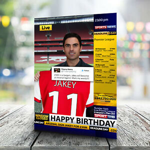 Arsenal Birthday Card - Personalised With Any Name and Age. Football Club