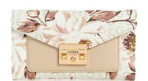 NEW GUESS Women's White Logo Red Pink Floral Print Trifold Wallet Clutch Bag